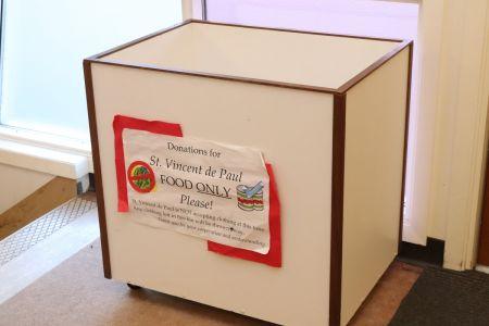 Donation box for St. Vincent de Paul